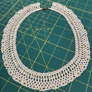 White glass beaded necklace RBG style
